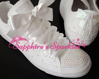 Bridal White Shoes Wedding Customised Bride Bling Sparkly White Converse