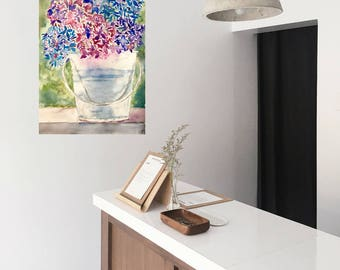 Hydrangea in a Bucket Watercolor Painting Original Watercolor Art Purple Pink Art Office Decor Bedroom Decor Anniversary Gift for Her