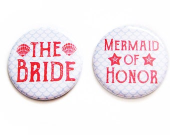 Mermaid Party Favors SET OF 2 Bachelorette Pinback Buttons Wedding Bridal Gifts Accessories