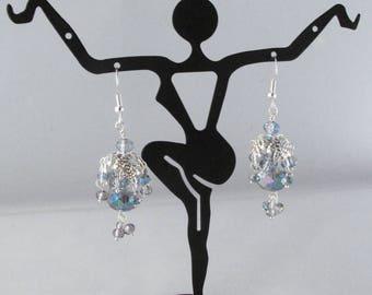 Bead Cap Trembler Crystal Earrings on Fishhook Earwires