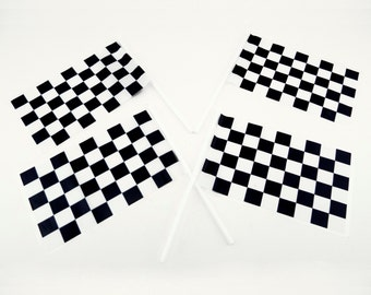 Plastic Checkered NASCAR Mini Racing Flags Theme CARS Party Favors Street Race Boy Birthday McQueen Decorations