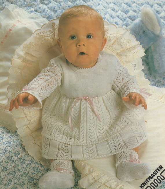 Baby Dress And Bootees Machine Knitting Pattern Pdf For Babies