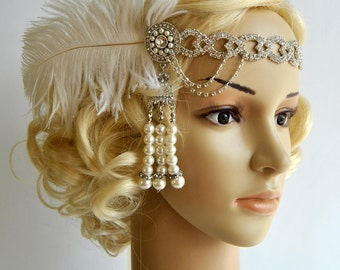 The Great Gatsby 20's rhinestone pearls flapper headband,20's flapper Headpiece headband, Bridal Headband, Crystal Ribbon Headband