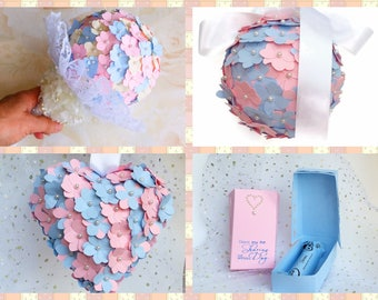 Wedding package, pink and blue paper hydrangea flowers, pomander, alternative bouquet, aisle decor, wedding favours, paper flowers
