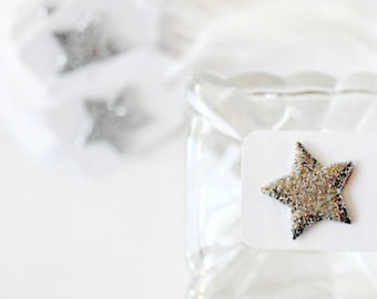 Mini Silver Star Tags {10} | Glitter Star Tags | Silver Stars | Mini Star Tags | Holiday Star Tags | Festive Star Tags | Christmas in July