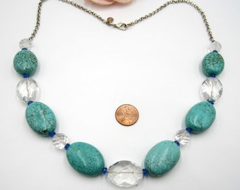 Vintage metal chain & lab turquoise glass beads necklace