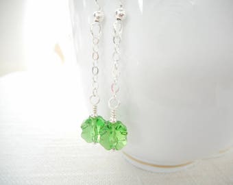 Clover Earrings, Swarovski Crystal Fern Green Shamrock Earrings, Long Chain Earrings, Sterling Silver St. Patrick's Day Jewelry Gift for Her