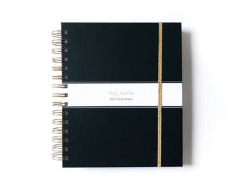 2018 agenda -  2018 planner - custom 2018 planner - weekly planner -  student calendar - 2018 monthly planner - personalized planner - black