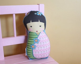 stuffed Doll Kokeshi by PETUNIAS - pillow  japanese kimono plush softie room decor toddler baby gift photo prop toy pillow ready to ship