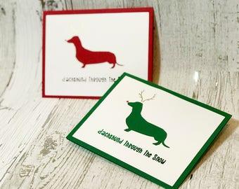 Dachshund Through The Snow Christmas Card | Dachshund Christmas Card