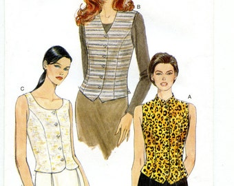 90s Vogue 9633 UNCUT Sewing Pattern Women's Short Sleeve Shirt Button Front Sleeveless Vest Top Bust 34 to 38 Sizes 12-14-16