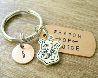 Personalized POLICEMAN Keychain, Police Officer Keychain, Weapon of Choice, Cop Keychain, Police Keychain, gift for cop, cop gift