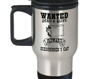 Funny Science Travel Coffee Mug with Lid - Stainless Steel Schrodinger's Cat Paradox - Stays Hot - Funny Physics Quantum Mechanics Gift for