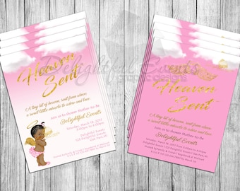 Sent from Heaven Baby Shower Invitation