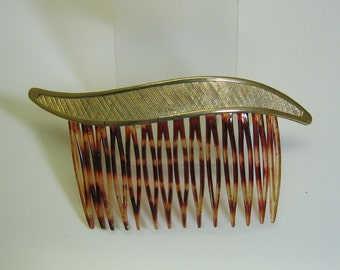 1960s Golden Metal Free Form Hair Comb