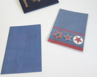 US Passport Cover, Blue, Red and Cream Stars, Passport  Sleeve, Case, Holder