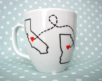 Long distance relationship mug, long distance friendship, state to state mug, long distance, distance love, personalized, custom mug