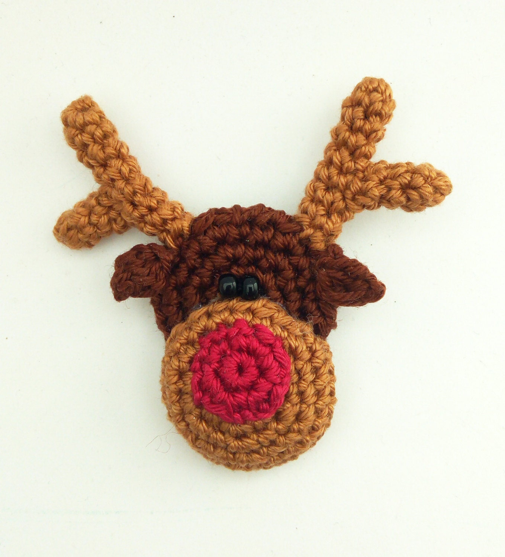 Crochet reindeer pattern,Crochet brooch pattern,Crochet Christmas ...