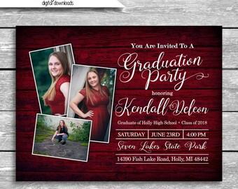 5x7 Customized Graduation Party Invitation Digital Download - Burgundy Faux Wood Background Graduate Printable JPG