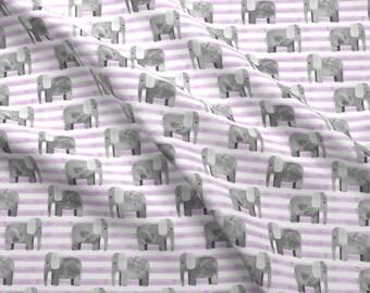Purple Watercolor Elephants Fabric - Elephants Purple Stripes By Littlearrowdesign - Watercolor Cotton Fabric By The Yard With Spoonflower