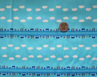 Toy Poodle by Kinkame Tiny House Rows Aqua Fabric - Half Yard