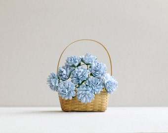 15mm Dusk Blue Paper Flowers - 10 Blue Dahlias - Made of mulberry paper and wire stems - Great for wedding favor & packaging [170]