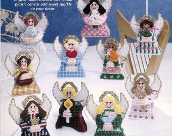 """Plastic Canvas 10 ANGEL ORNAMENTS Pattern Book - Each 4.5"""" tall (not including hanger) - Christmas Angels Original Not a Pdf Kenyon Books"""