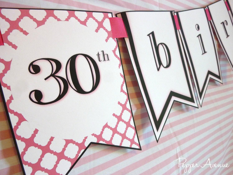 Printable Birthday Banner ~ Happy birthday banner 21st 30th 40th 50th 60th