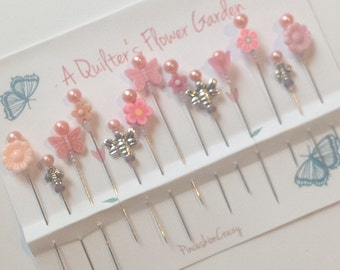 Flower Quilting Pins - Beaded Stick Pins - Embellishment Pins - Decorative Sewing Pins - Fancy Quilting Pins - Sewing Accessories - Cute
