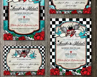 Rockabilly Wedding Invitations and rsvp | Offbeat Wedding Invite | Tattoo Style | Roses and checkerboard | Wedding  Printable DIY Invitation
