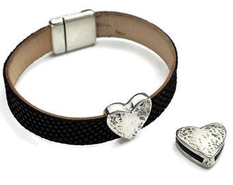 13MM Slide - Heart Slide - Bracelet Making Supplies - Zamak - Antique Silver - Jewelry Findings - DIY Jewelry Supplies - SILVER Heart - Qty1