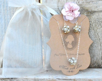 Bridesmaid Gift, Silver and Crystal Bridesmaid Necklace Jewelry Set, Sterling Silver Bridesmaid Gift Set, Necklace and Earrings