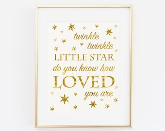 Twinkle twinkle little star do you know how loved you are, Baby Shower Sign, Baby Shower Decoration, Gold Glitter Baby Birthday Printable
