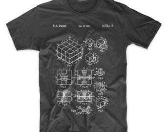 Rubik's Cube Patent T-Shirt. Patent Art. Rubik's Cube Shirt. Soft Cotton Tee. Blueprint. Schematic. Fun Gift. On Black, White, Red, or Gray