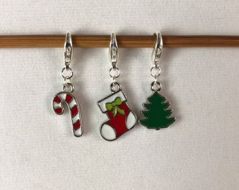 Christmas Tree, Candy Cane and Stocking Knitting / Crochet Stitch Markers -set of 3