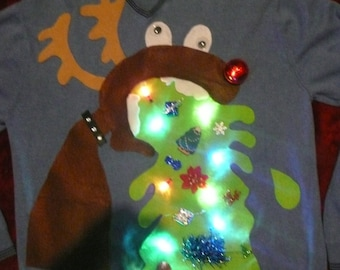LIGHTS Up!!!  Custom made Naughty men's tacky 3D Ugly Christmas sweater ANY SIZE