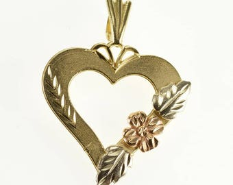 14k Heart Cut Out Rose Leaf Accent Tri Tone Charm/Pendant Gold