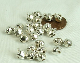 Tiny Bells 25 pieces 6mm Silver Plated Steel Jewelry Craft Supply Bells