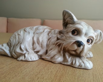Porcelain Scared Terrier Figurine by Shafford The Lovables Collection Made in Japan 1970s Vintage