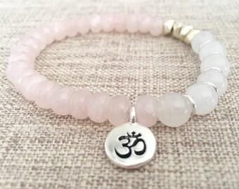 Rose Quartz Om Charm Bracelet