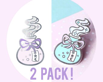 LIMITED EDITION! 2 Pack Pink & Green Potion Bottle Enamel Pins - Silver Hard Enamel Pin / Lapel / Badge