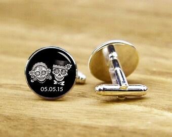Sugar Skull Cufflinks, custom date, groom gifts, personalized cufflinks, custom wedding cufflinks, round, square cufflinks, tie bar, or set