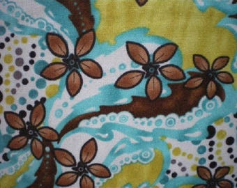 patchwork flowers Brown background fabric white yellow turquoise refm6175pb