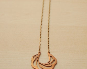 LUCIA Necklace: Vintage Brass Charm on plated brass chain