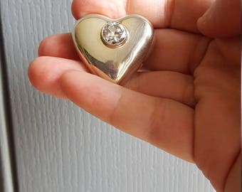 Sterling silver puffy heart & crystal brooch