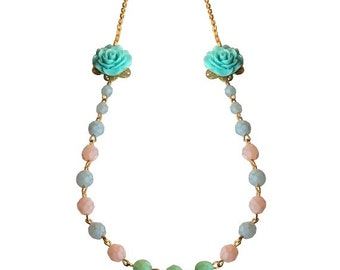 Long pastel beads statement necklace, Handmade summer trend jewellery, Gift for mom, Gift for her, Beaded spring and summer fashion jewelry