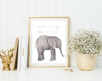 Baby Room Wall Art, Elephant Print, Baby Room Prints, Inspirational Quote Print, Animal Nursery Art, Nursery Wall Decor, New Baby Gift