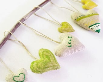 SALE.Linen Heart Ornaments (Set of 7)