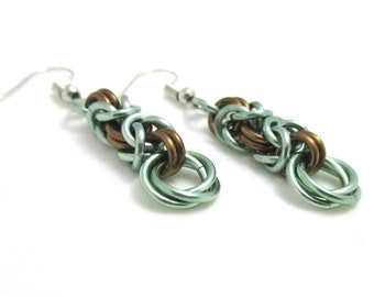 Seafoam Green & Dark Bronze Byzantine Chainmaille Earrings - Ready to Ship