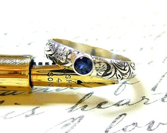Willow Ring - Vintage Sterling Silver Floral Stack Band with Blue Sapphire September Birthstone
